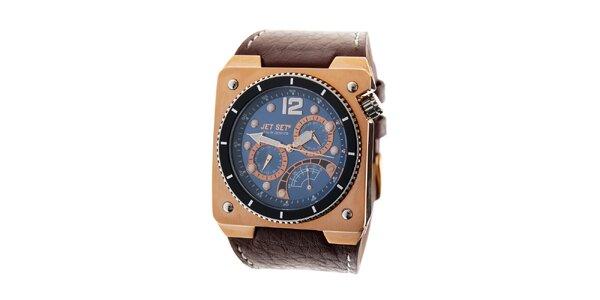 Pánské zlaté hodinky Jet Set s hnědým koženým řemínkem