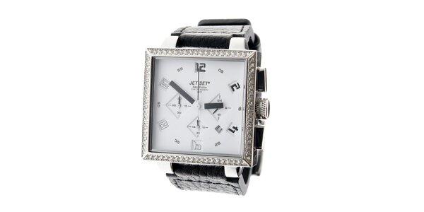 Dámské ocelové náramkové hodinky Jet Set s černým koženým řemínkem a bílým…