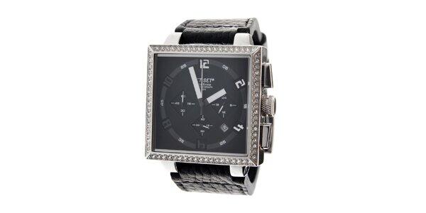 Dámské ocelové náramkové hodinky Jet Set s černým koženým řemínkem a černým…
