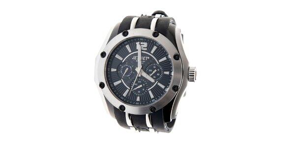 Ocelové hodinky Jet Set s černým silikonovým páskem