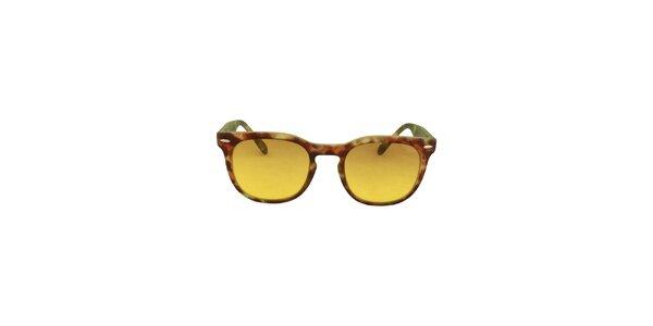 Hnědo-zelené sluneční brýle se žlutými skly No Limits