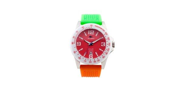 Barevné analogové hodinky s červeným ciferníkem No Limits