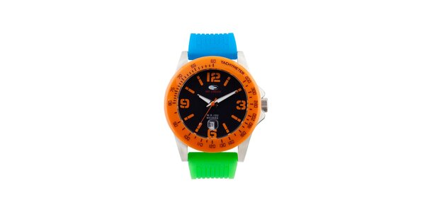 Oranžovo-modro-zelené analogové hodinky No Limits