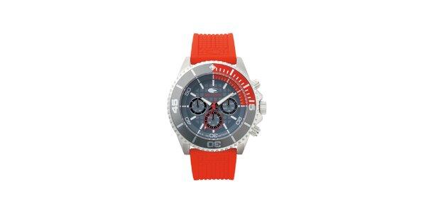Šedo-červené analogové hodinky s minerálním sklíčkem No Limits