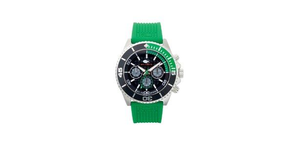 Zeleno-černé analogové hodinky s minerálním sklíčkem No Limits