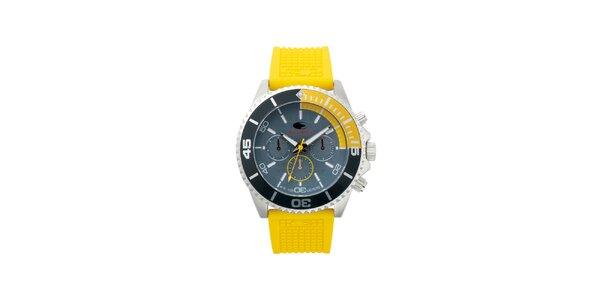 Žluté analogové hodinky s minerálním sklíčkem No Limits