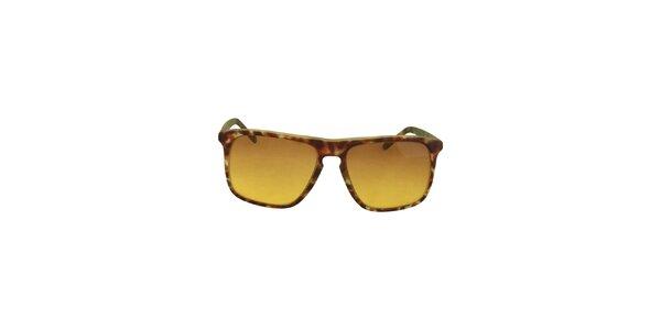 Hnědo-zelené sluneční brýle s tónovanými žlutými skly No Limits