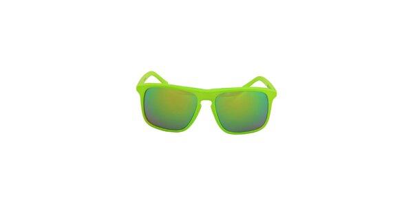 Neonově zelené hranaté sluneční brýle No Limits se zrcadlovými sklíčky