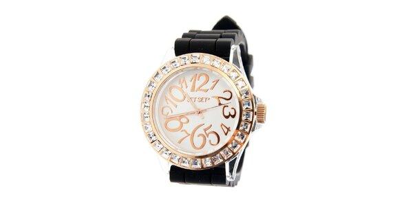 Dámské zlaté hodinky Jet Set s černým silikonovým páskem a kamínky