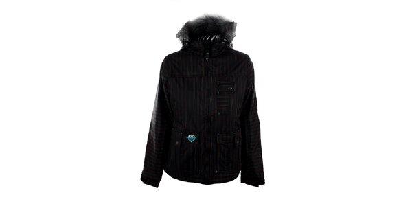 Dámská černá snowboardová bunda s barevnými proužky Meat Fly