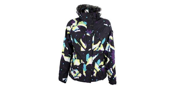 Dámská černá snowboardová bunda s barevným potiskem Meat Fly