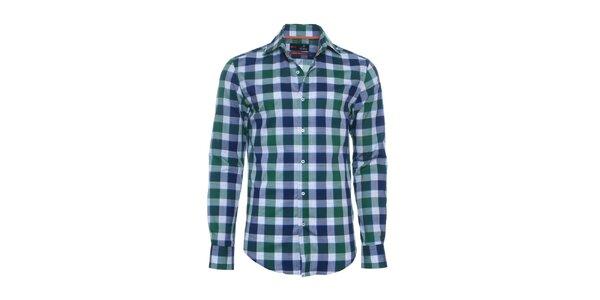 Pánská modro-zelená kostkovaná košile Pontto
