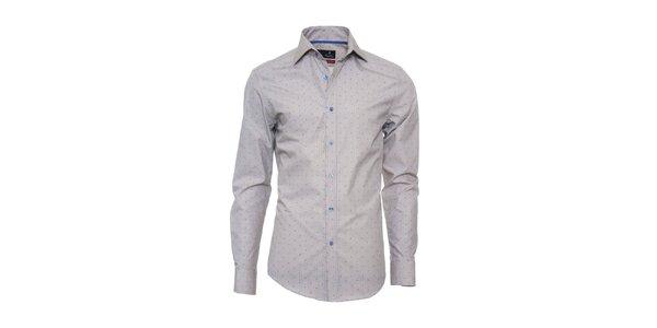 Pánská šedá košile s modrým vzorkem Pontto