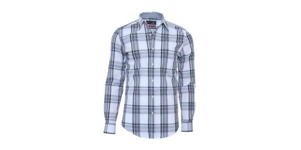 Pánská světle modrá košile s károvaným vzorkem Pontto