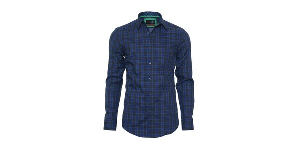 Pánská černo-modrá kostkovaná košile z limitované kolekce Pontto