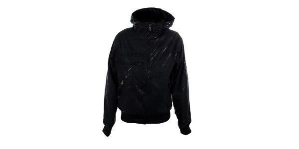 Dámská černá lesklá bunda Meat Fly s proužky