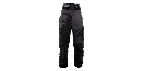 Pánské šedo-černé lyžařské kalhoty Meat Fly