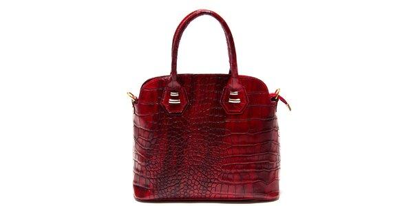 Dámská malinová kabelka Roberta Minelli s motivem hadí kůže
