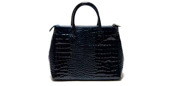 Dámská lesklá modrá kabelka Roberta Minelli s motivem hadí kůže