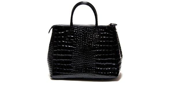 Dámská lesklá černá kabelka Roberta Minelli s motivem hadí kůže