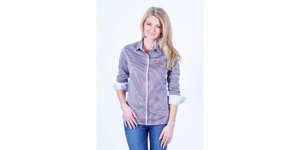 Dámská fialovobíle pruhovaná košile Pontto