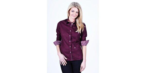 Dámská fialová košile Pontto s kostkovanými manžetami