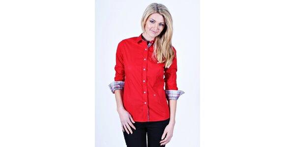 Dámská červená košile Pontto s kostkovanými manžetami