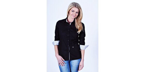 Dámská černá košile Pontto s tečkovanými manžetami