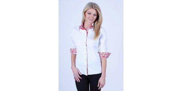 Dámská bílá košile s květinovou podšívkou Pontto