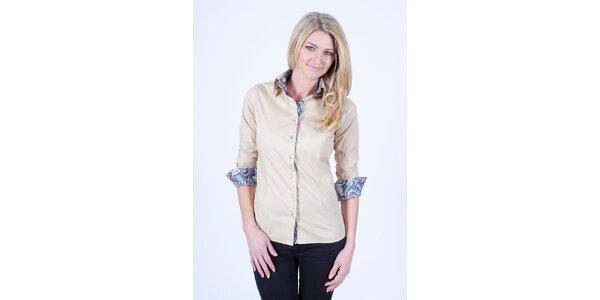 Dámská béžová košile s květinovou podšívkou Pontto