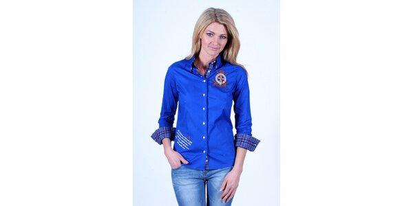 Dámská modrá košile Pontto s kostkovanou podšívkou