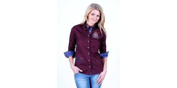 Dámská bordó košile Pontto s kostkovanou podšívkou