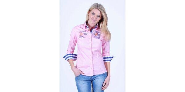 Dámská růžová košile Pontto s výšivkou na hrudi