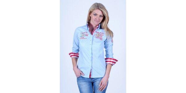 Dámská světle modrá košile Pontto s výšivkou na hrudi