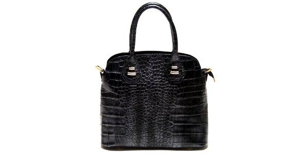 Dámská černá kabelka Roberta Minelli s motivem hadí kůže
