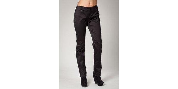 Dámské černé saténové kalhoty Ungaro