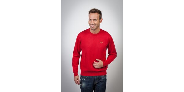 Pánský sytě červený svetr Spagnolo