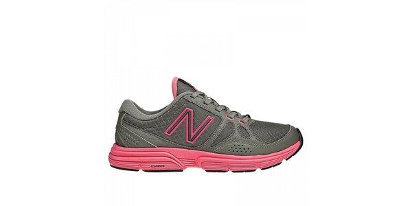 Dámské šedé fitness boty New Balance s růžovými detaily