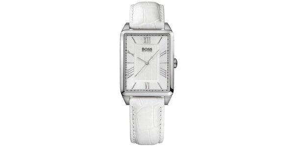 Dámské stříbrné hranaté hodinky s bílým ciferníkem Hugo Boss Orange