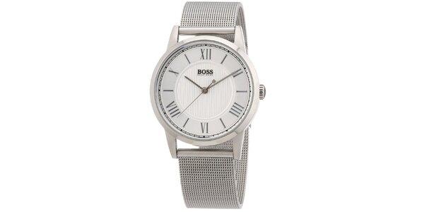 Dámské kulaté stříbrné hodinky s ocelovým tahem Hugo Boss Orange