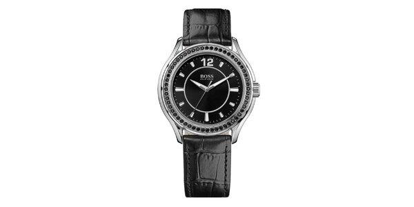 Dámské stříbrné hodinky s černými krystalky Hugo Boss Orange
