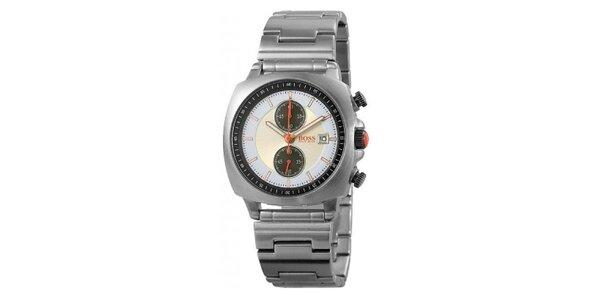 Ocelové hodinky s modro-žlutým ciferníkem Hugo Boss Orange