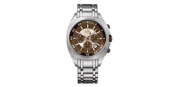 Pánské stříbrno-hnědé analogové hodinky s chronografem Hugo Boss Orange