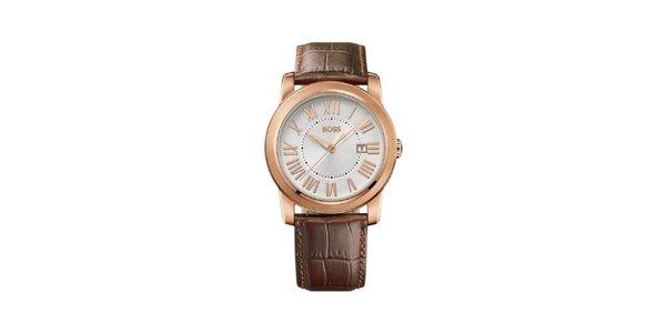 Pánské pozlacené analogové hodinky Hugo Boss Orange