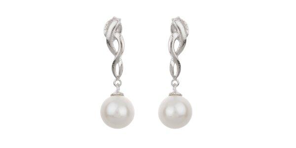 Dámské bílé visací perlové náušnice Orchira