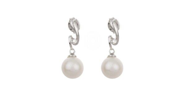 Dámské bílé perlové náušnice Orchira se zirkony