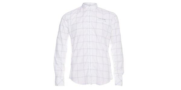 Pánská bílá košile Lois s šedou kostkou a stojáčkem