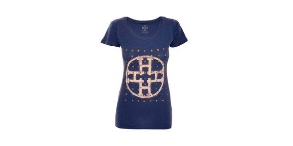 Modré bavlněné tričko značky Hope 1967 s potiskem hvězd