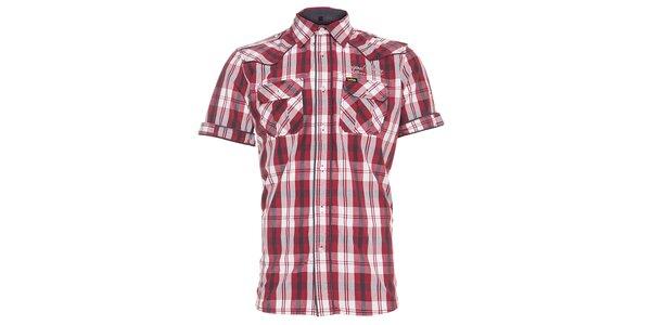 Pánská červeno-hnědá kostkovaná košile Lois