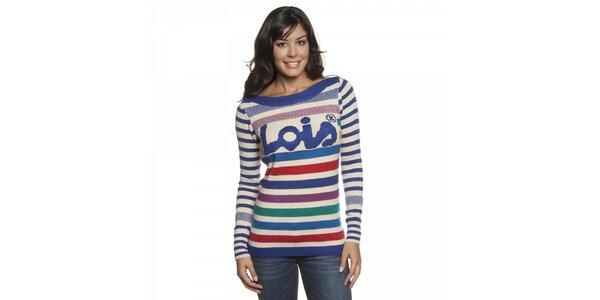 Dámský proužkovaný pestrobarevný svetr Lois